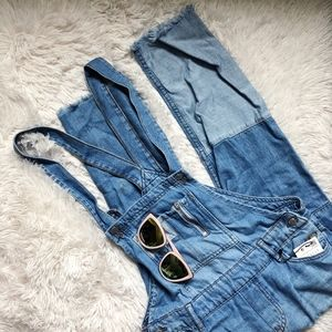 ZARA light blue distressed hem patch overalls NWT